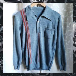 {Vintage}70s Blue Orange Stripe Collared Sweater